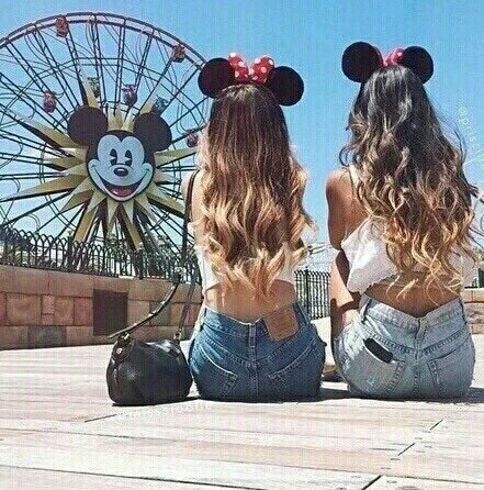 best friends, black and white, crop top, disney land, fashion, goals, iphone, purse, shoes, miss match, blonde and brunet