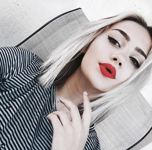 beauty, eyeliner, fashion, hair, hairstyle, makeup, red lipstick, style