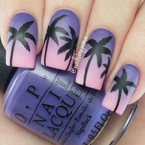 black, cute, long nails, matte, nail art, nail polish, nails, o.p.i, ombre, palm trees, pink, pretty, purple