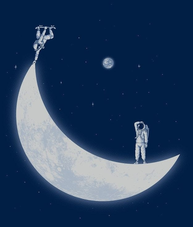 astronaut, moon, skate, space, wallpaper