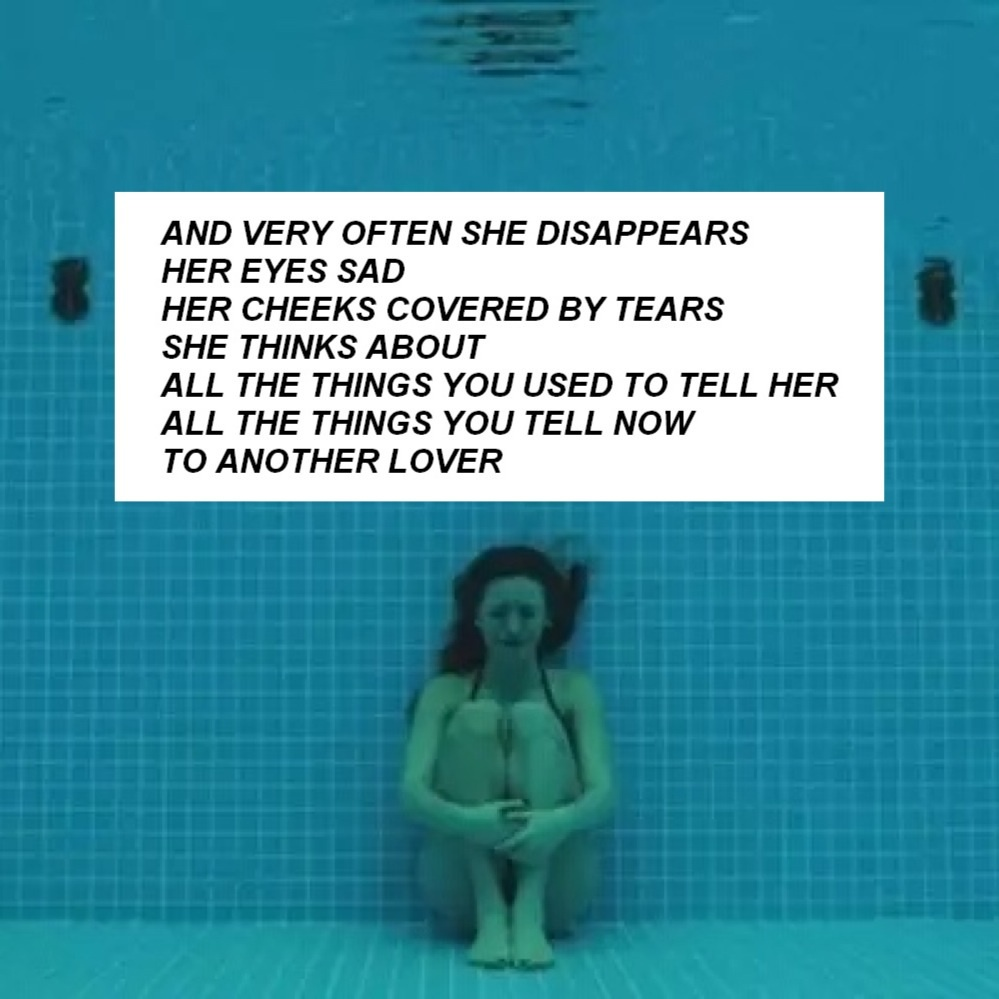 blue, breakup, broken heart, cheeks, cry, crying, disappear, eyes, feelings, girl, heartbreak, her, him, lonely, pool, quote, quotes, sad, someone else, tears, tell, text, things, think, thinking about you, thoughts, underwater, First Set on Favim.com