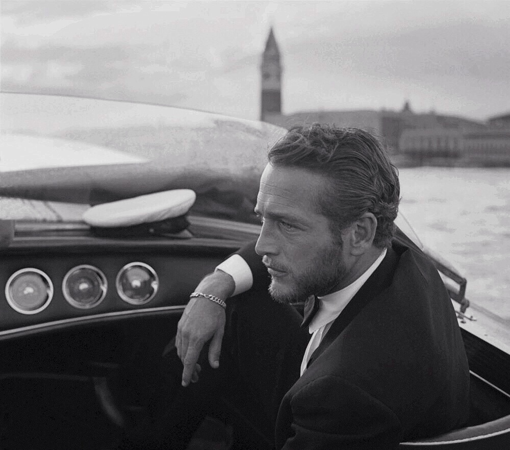 actor, black and white, italy, old hollywood, paul newman, venice, isitvogue