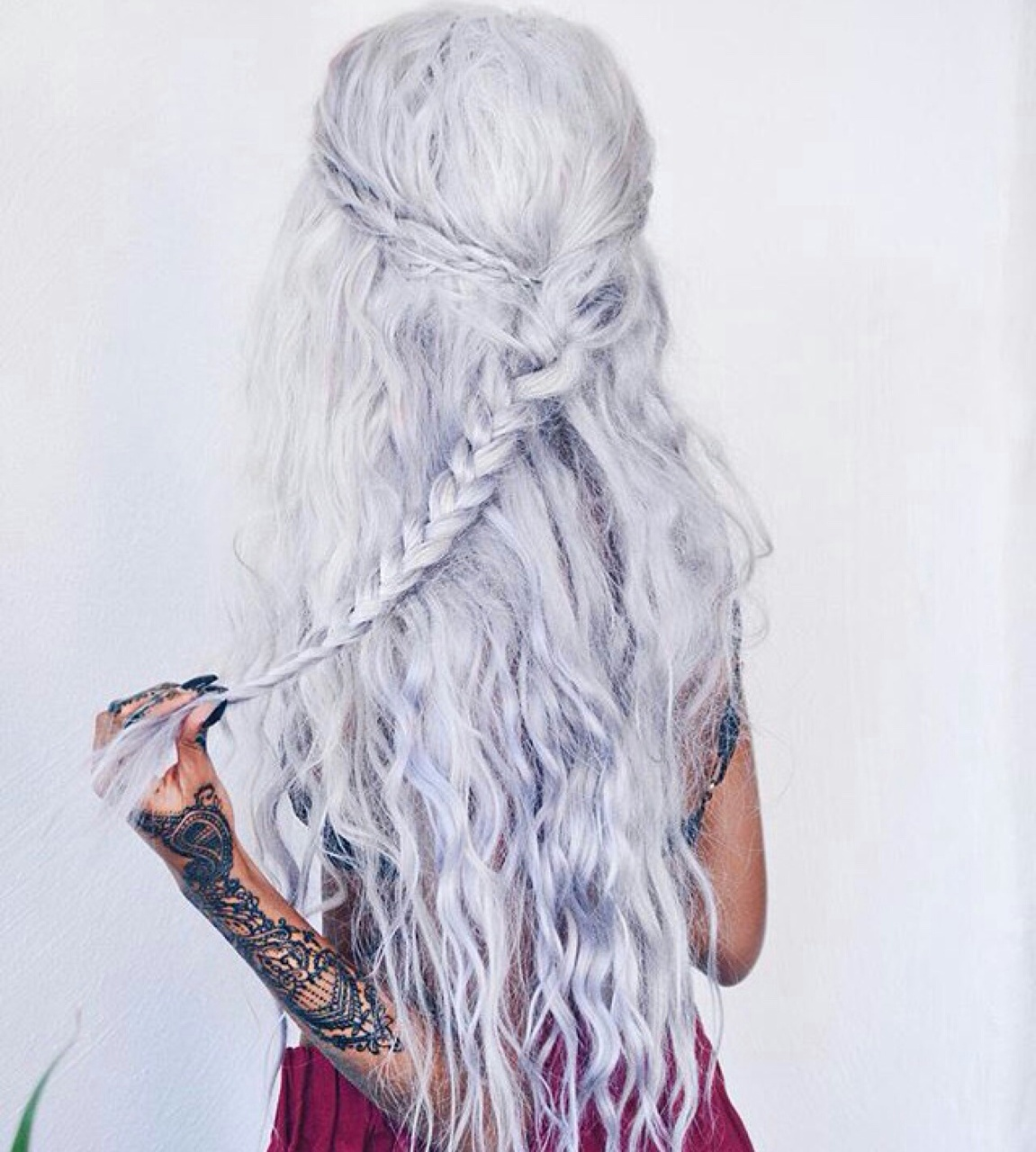 amazing, awesome, beautiful, beauty, braid, braided, braids, chic, color, cool, girl, girly, hair, haircuts, hairstyles, hand tattoo, long hair, photo, picture, pretty, silver hair, tattoo, tumblr, white hair