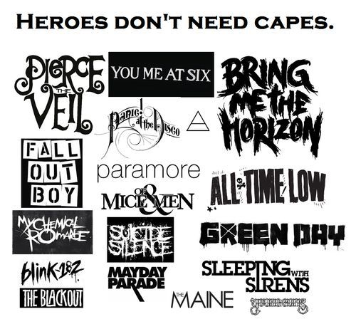 all time low, atl, blink 182, bmth, bring me the horizon, fall out boy, fob, green day, heroes, imagine dragons, mcr, music, my chemical romance, of mice and men, p!atd, panic! at the disco, paramore, pierce the veil, sleeping with sirens