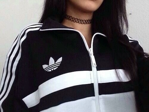 adidas, black hair, body, chic, clothes, cool, dark hair, fashion, fitness, girl, glamour, gym, hair, like, long hair, luxury, necklace, outfit, sport, stripes