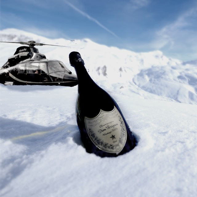 champagne, classy, helicopter, lifestyle, luxury, luxury lifestyle, snow, luxurylifestyle, Dom Perignon