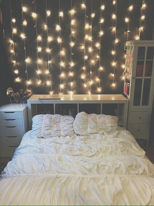 cosy, cute, goal, interiors, lights, white, bedroom goal