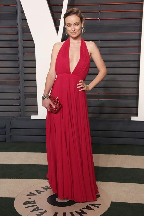 afterparty, olivia wilde, red dress, oscars 2016