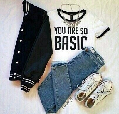 all star, baseball, black, combination, converse, fashion, girl, jacket, jeans, necklace, outfit, shirt, spring, style, summer, white, woman, you are so basic
