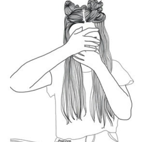 Alternative black and white girl grunge outlines - Image de fille noir et blanc ...