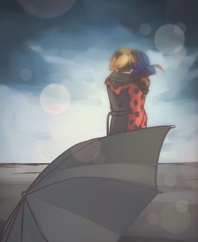 adrien, aww, awww, cute, hug, kawaii, ladybug, love it, omg, umbrella, ship them, miraculous ladybug, Chat Noir, marinette, the end or the beginning?, he knows!
