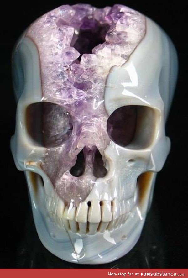 Skull carved from geode funny image by