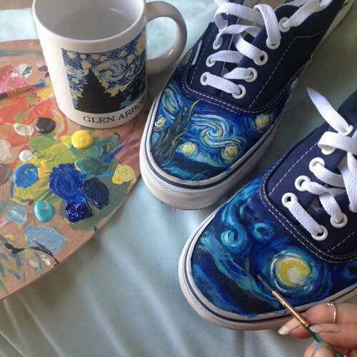 starlight night, paints, you can do it, sneakers, van gogh
