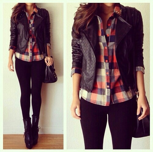 leather jacket, style, blue, plaid shirt, red