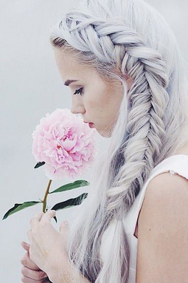 braids, white hair, shirt, pink, grey hair