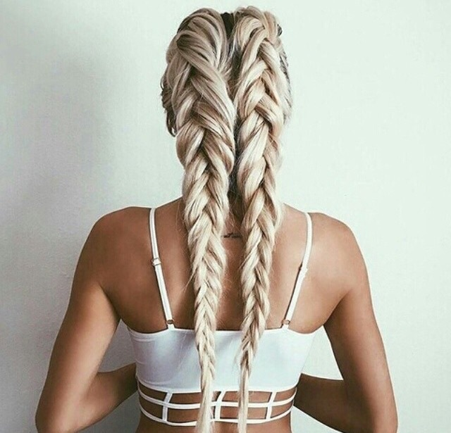 back, lovely, girl, braided hair, hairstyle