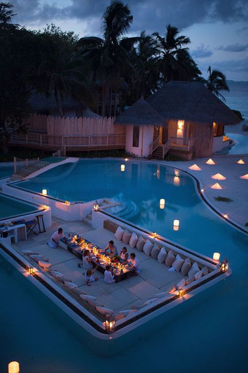 travel, resort, maldives, pool, dinner