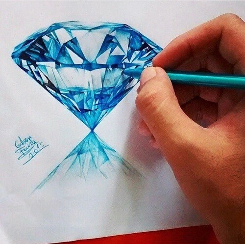 diamond, blue, drawing, picture, art - image #4245418 by ...