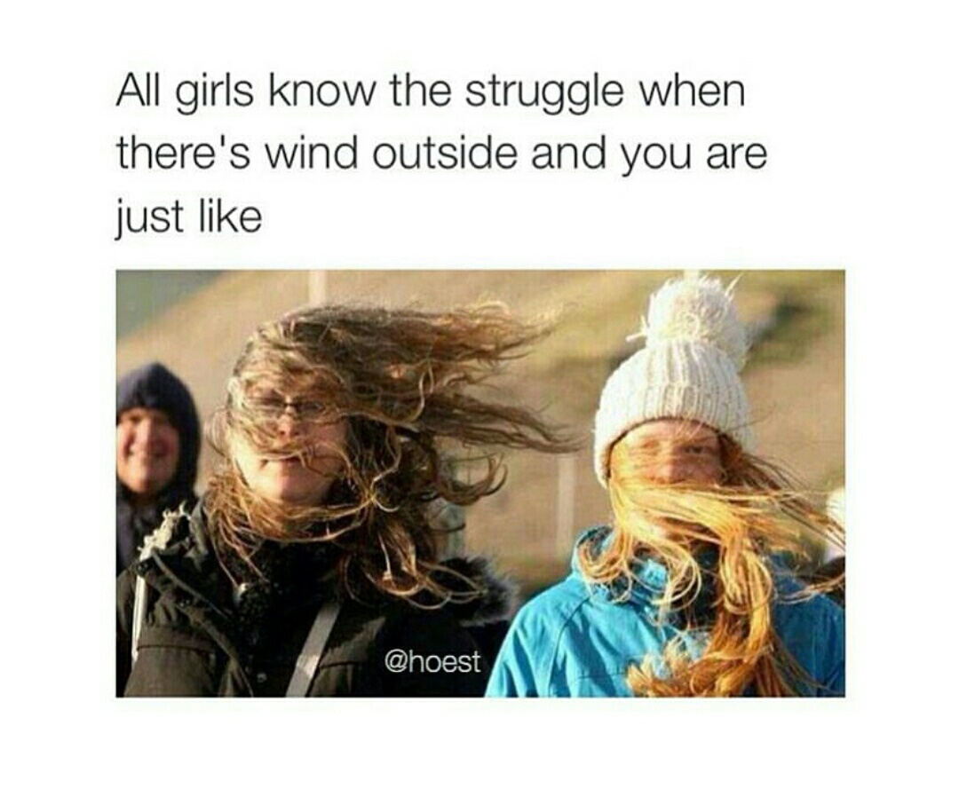 lol, funny, long hair struggles, girls, wind