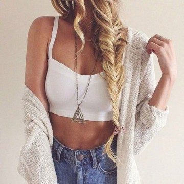 cardigan, crop, fishtail, hair braid, photography