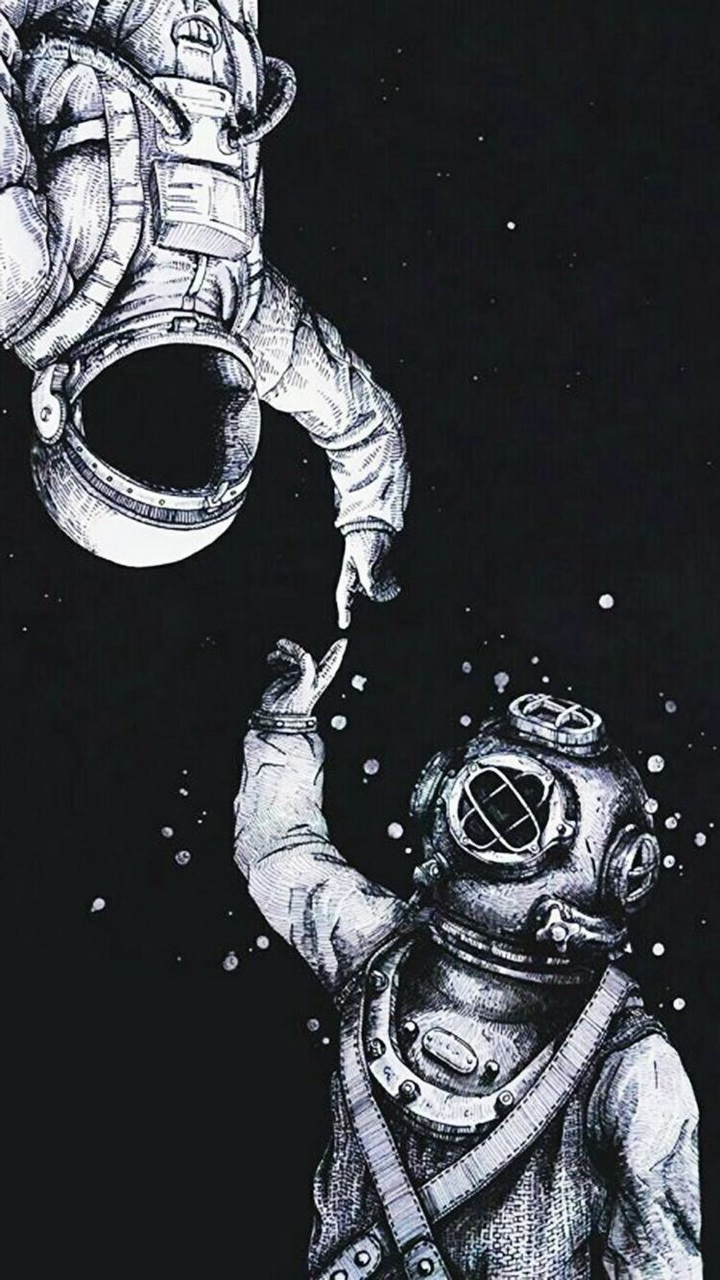 astronaut, black, dark, diver, inspiration