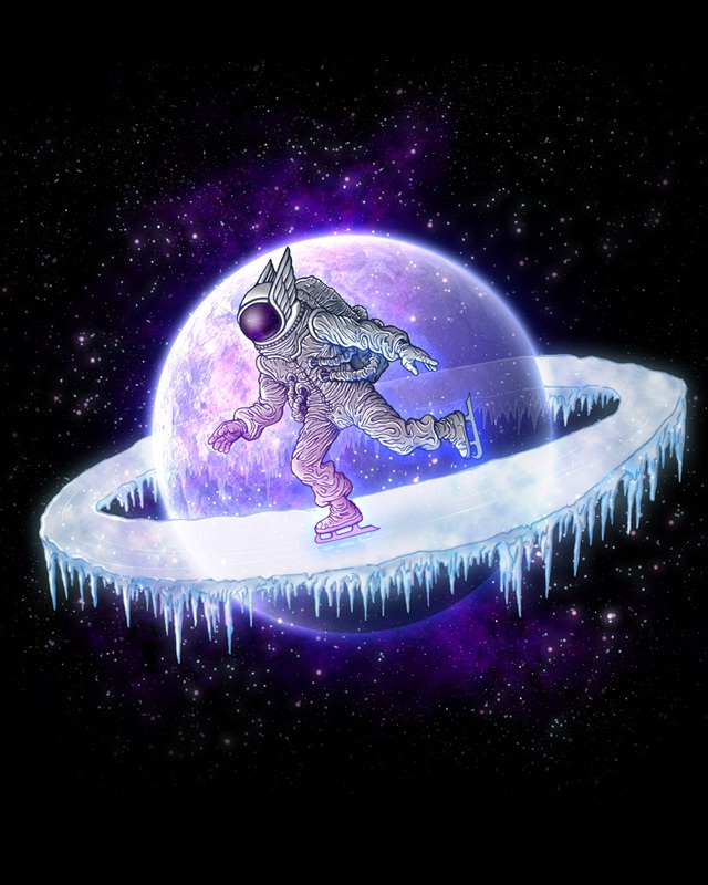 astronaut, galaxy, ice skating, planet, space
