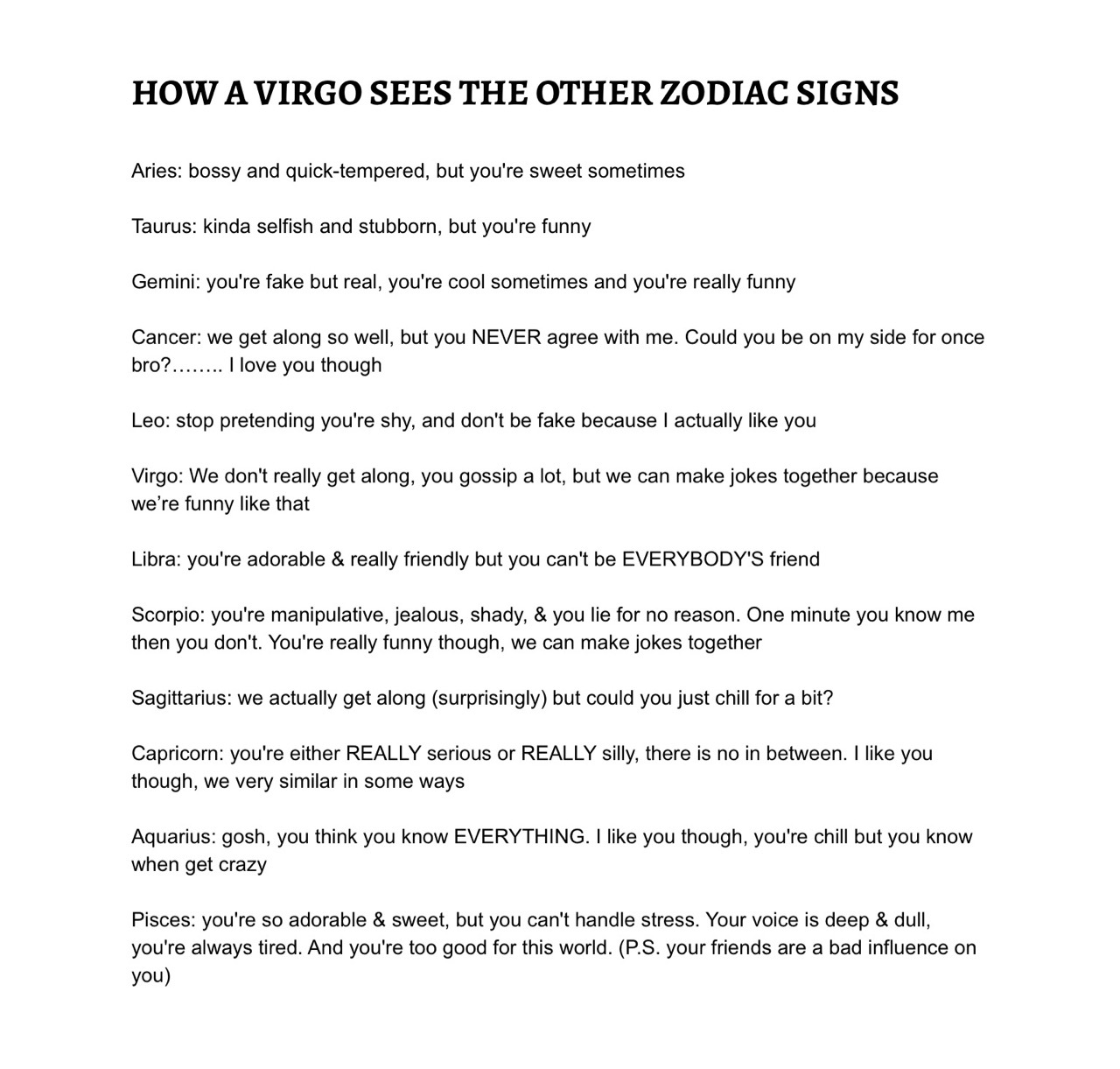 How a Virgo sees the other zodiac signs - image #4334483 by