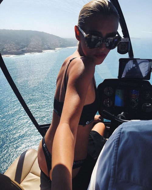 brunette, girl, hair, helicopter, sea