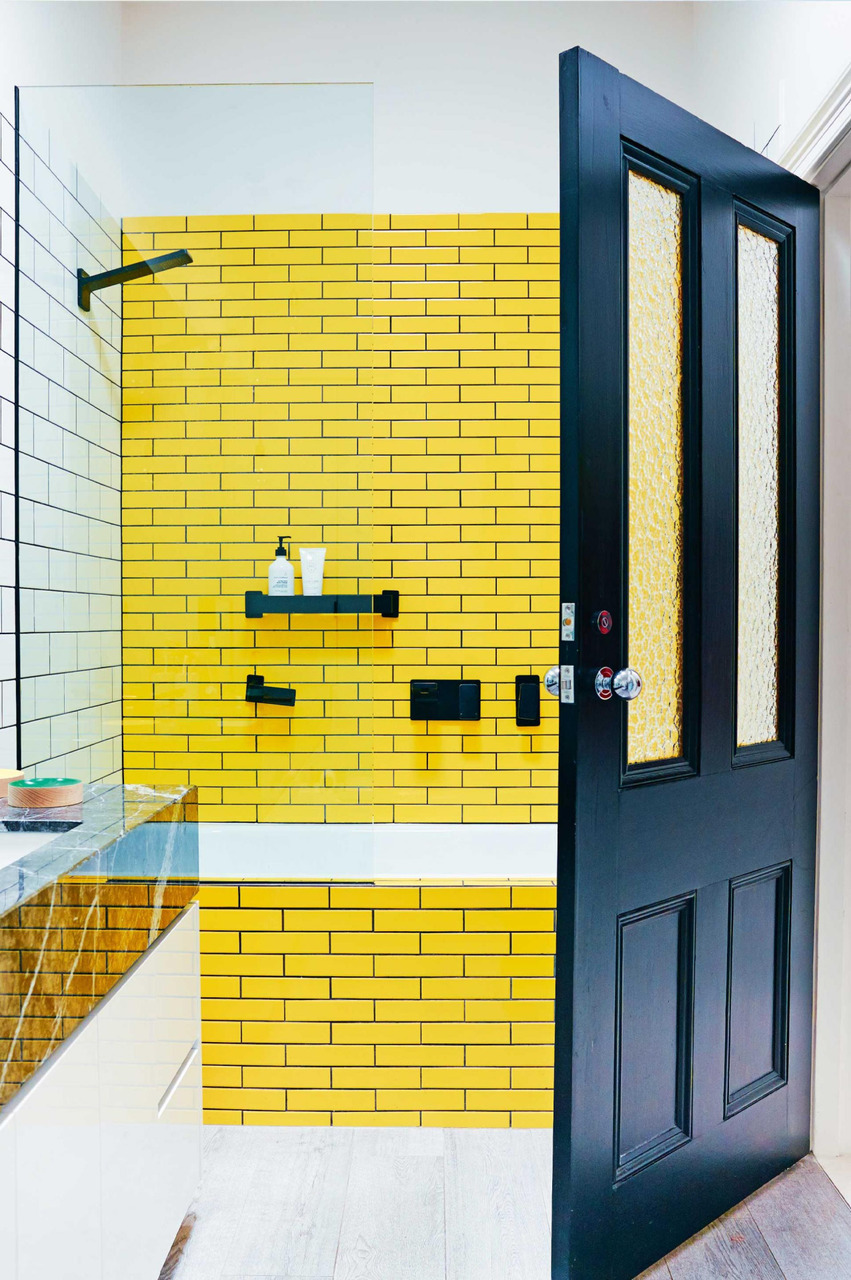 bathroom, interior design, interiors and yellow