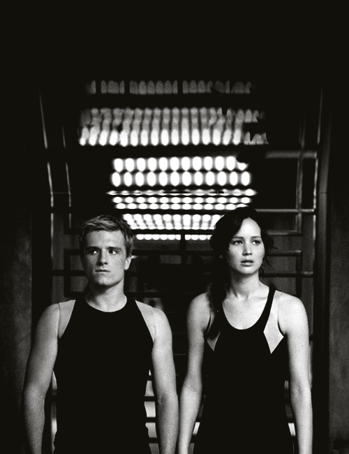 black and white, film, jennifer lawrence, josh hutcherson, katniss everdeen