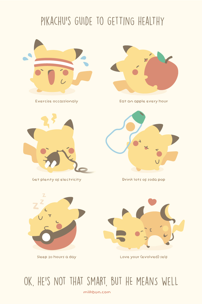 cute, exercise, fitspo, pikachu, pocket monsters