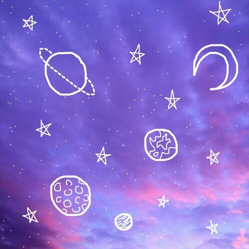 Aesthetic Blue Outer Space Outlines Pink Image