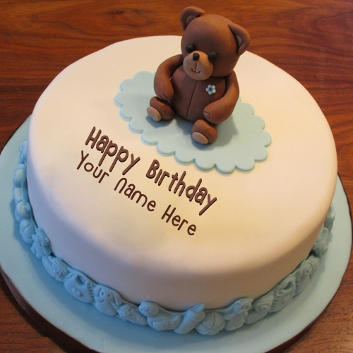 Simple Teddy Bear Birthday Cake With Name - image #4434478 ...