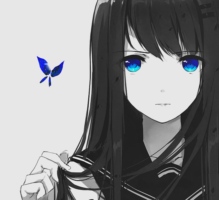 anime girl, beautiful, black and white, blue eyes, butterfly