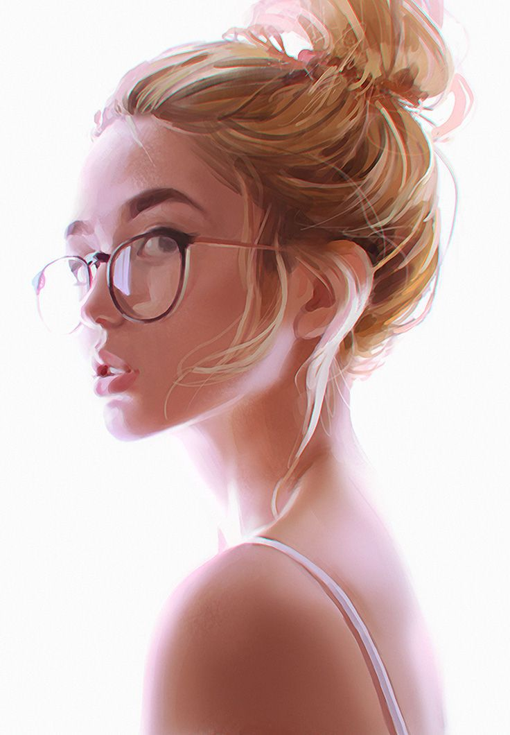 beautiful, blonde, digital art, girl, glasses