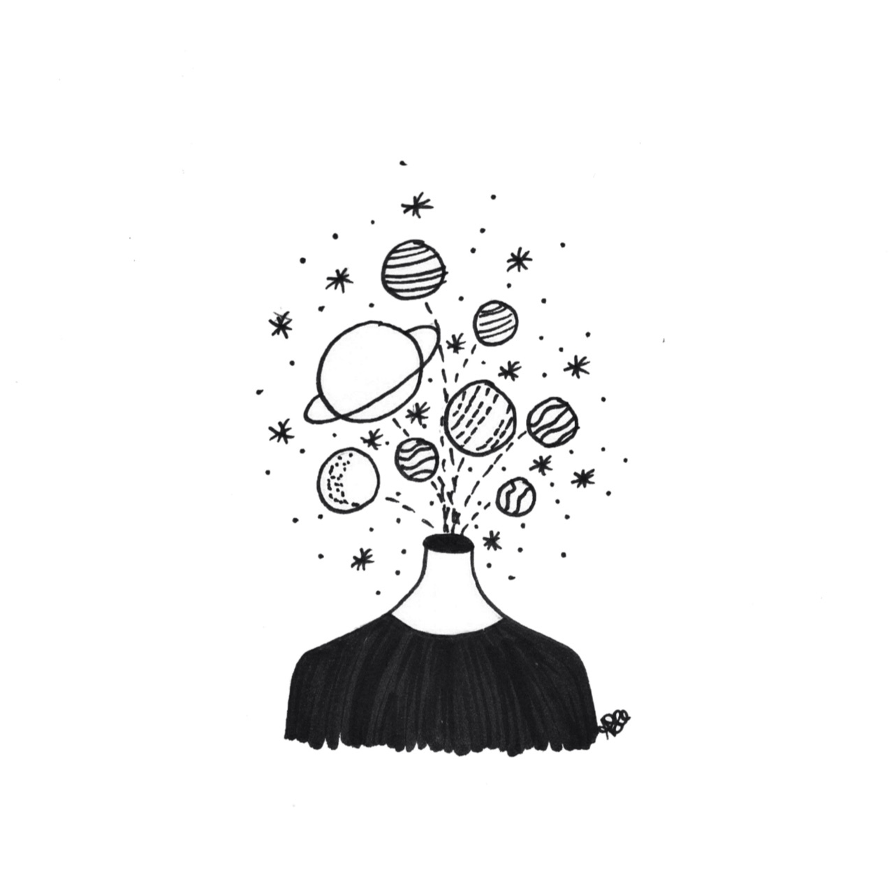 aesthetic, black and white, head, planet, space