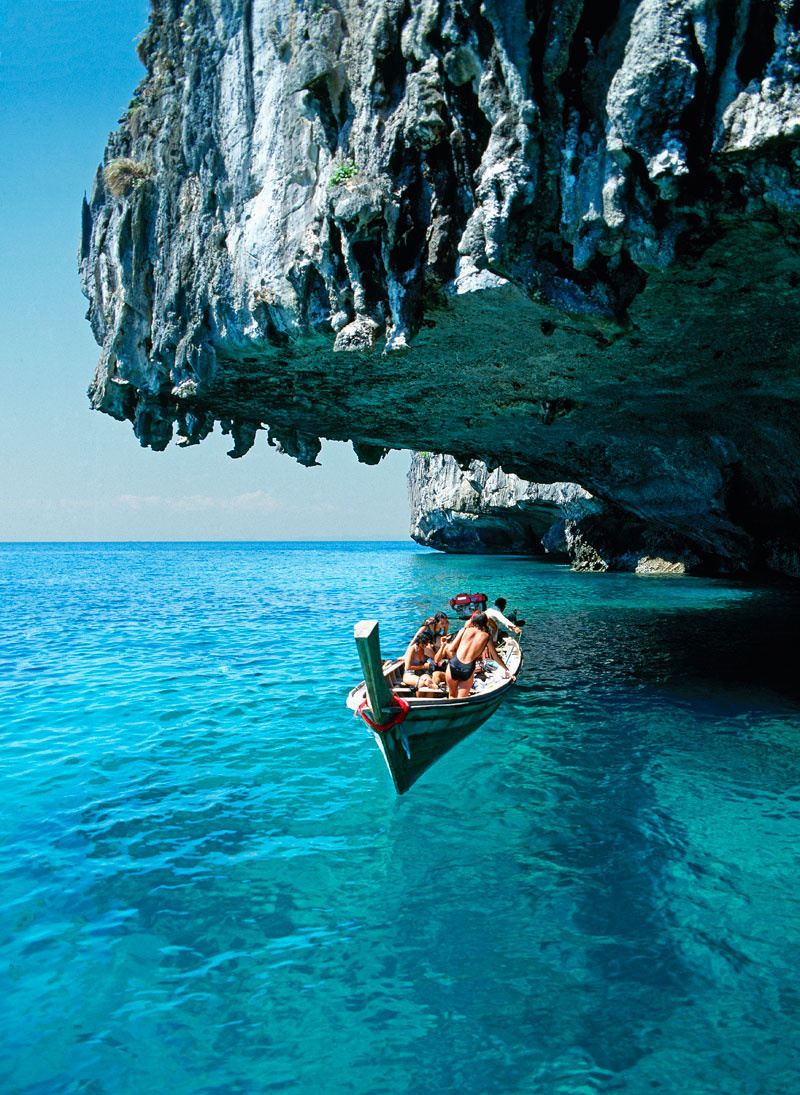 blue water, boat, cliff, sea, summer