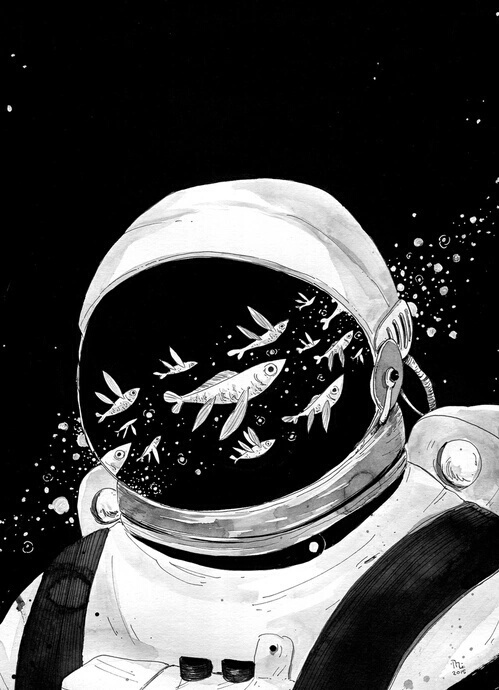 astronaut, night