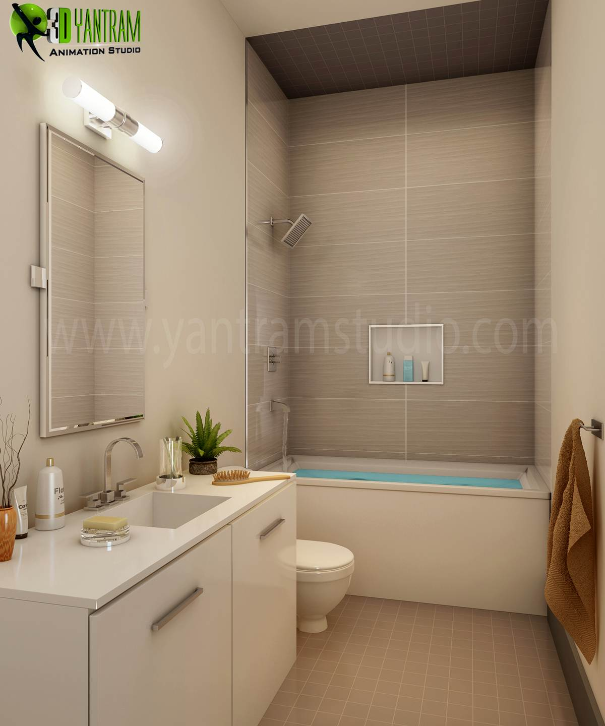 3d, animation, architectural, bathroom, bedroom