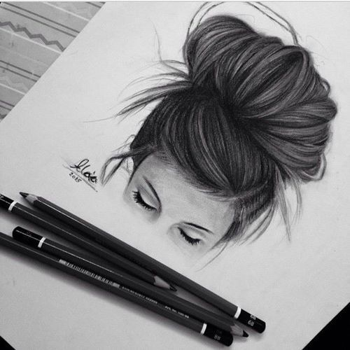 art, beautiful, black and white, charcoal, colored pencils