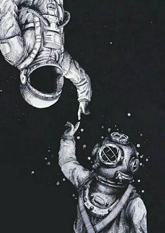 astronaut, black and white, different, friends, indie