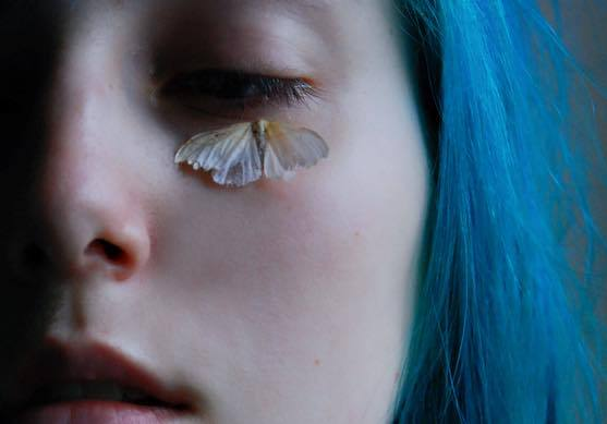 blue hair, cool, girl, insect, sad