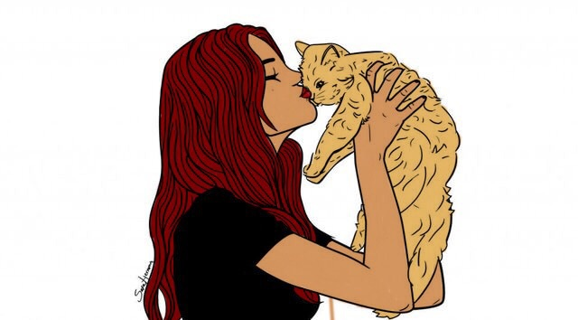 cat, girl, outlines, redhead