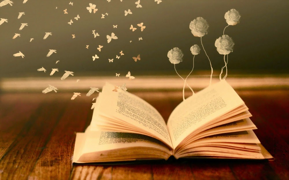 book, butterfly, flower, open book