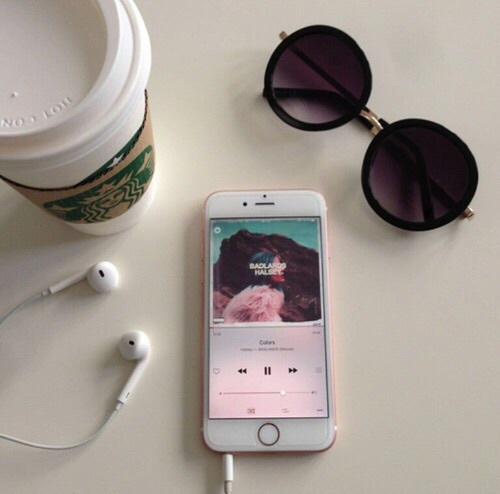 aesthetic, coffee, colors, earbuds, grunge