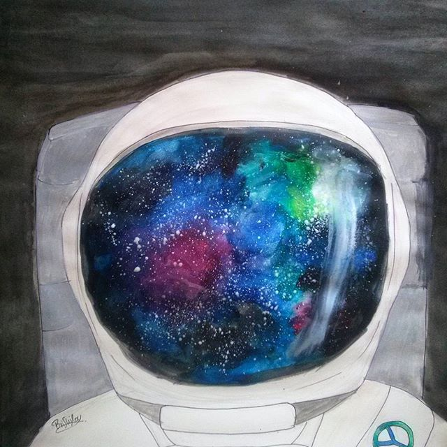 art, astronaut, galaxy, homesick, painting