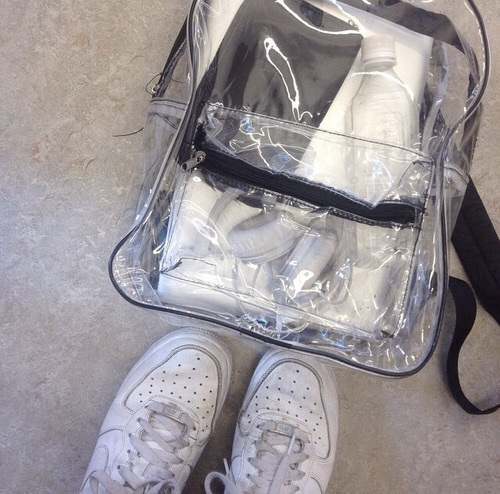 aesthetic, backpack, black, black and white, clear