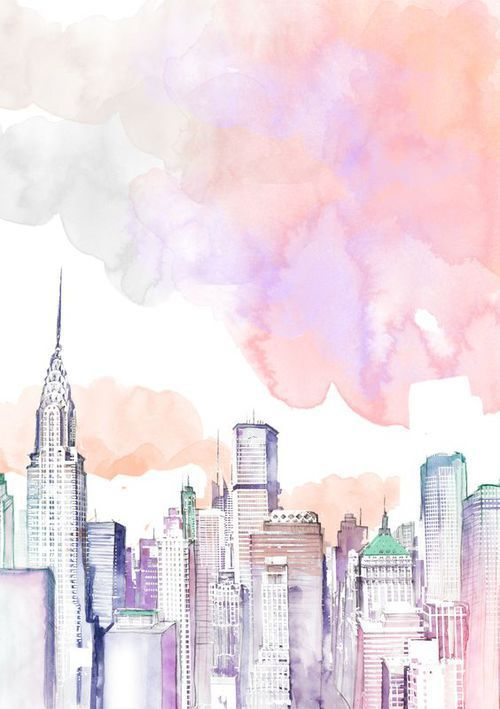 city, pastel, wallpaper, watercolor