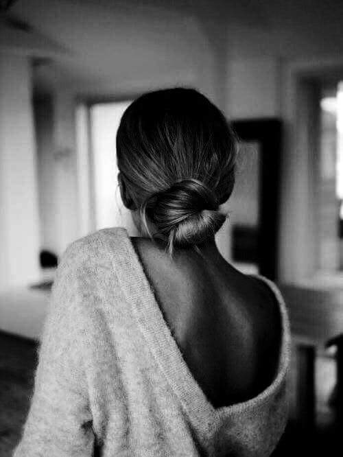 back, black & white, fashion, girl, hairstyle