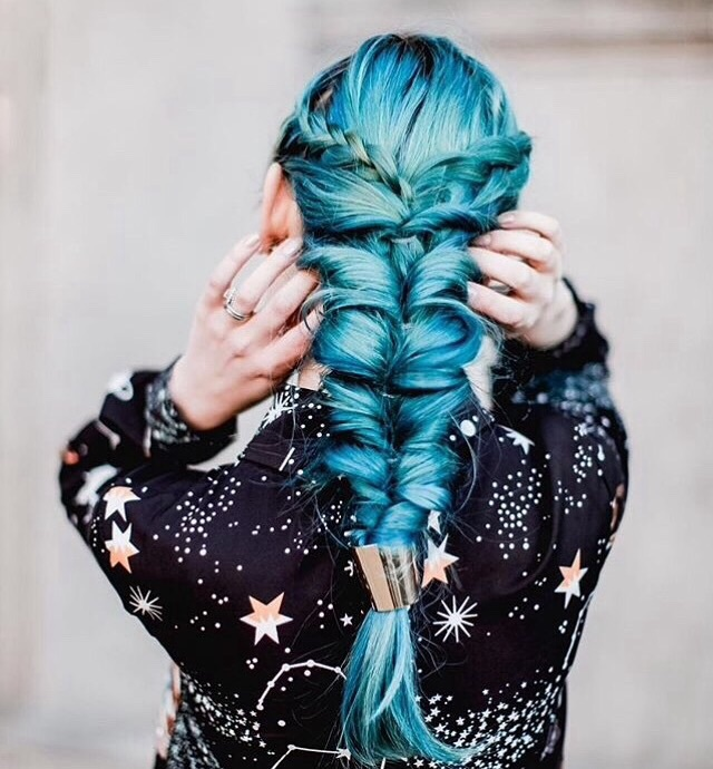 blue hair, colorful hair, hair color, hairstyle, mermaid